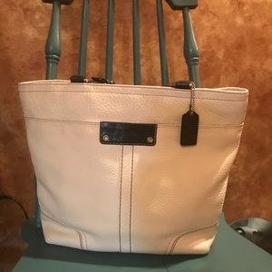 Coach white and black leather purse